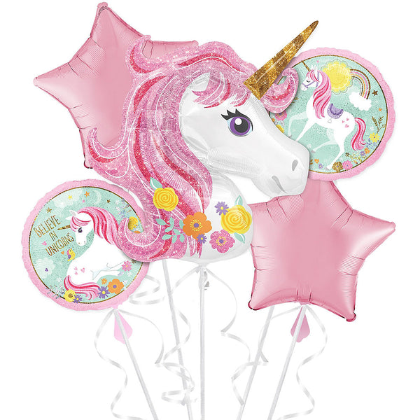Magical Unicorn Balloon Birthday Bouquet 5pc