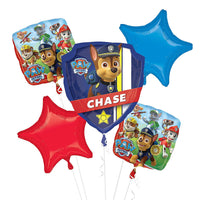 Paw Patrol Birthday Balloons Bouquet 5pc Chase