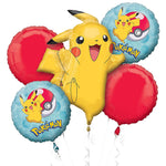 Pokemon Pikachu Birthday Balloon Bouquet 5pc Pokeballs
