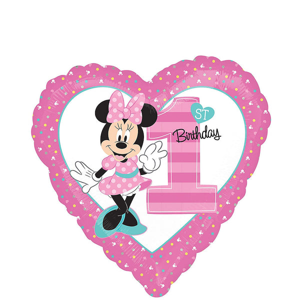 Minnie Mouse 1st Birthday Heart Balloon
