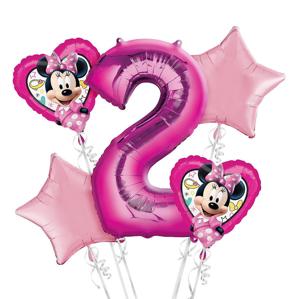 Pink Minnie Mouse 2nd Birthday Balloons Bouquet 5pc