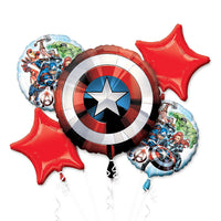 Avengers Captain America Shield Birthday Balloon Bouquet 5pc