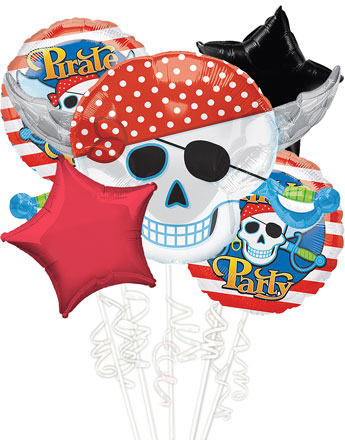 Pirate Skull Party Balloon Bouquet 5pc