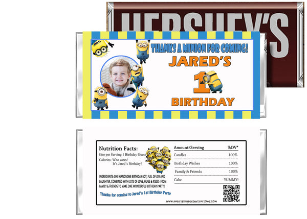 Minions Birthday Candy Bar Wrappers