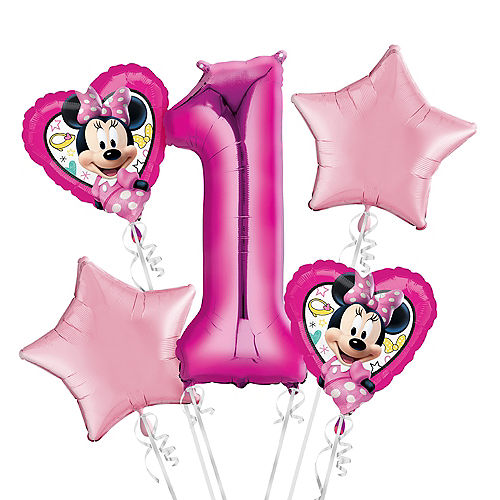 Pink Minnie Mouse 1st Birthday Balloons Bouquet 5pc