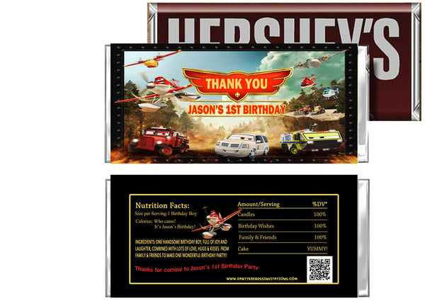 Disney Planes Fire and Rescue Birthday Candy Bar Wrappers