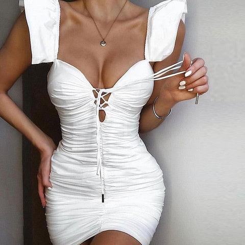 Women Butterfly V-neck White Summer Dress