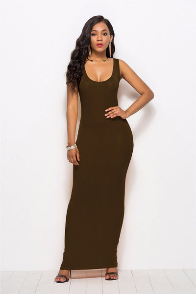 High Stretch Tank Dress,  Spring / Summer, Thin, Long Dress,  Elegant Women,  Sexy Dress,  round-Neck,  Sleeveless,  Slim Maxi Dress Right Here @ The Jazzi Spot Boutique!