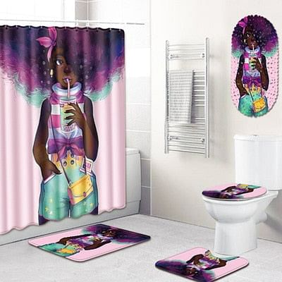 Carpet Bathroom Foot Pad African Woman Bath Mat and Shower Curtain Set PVC Toilet Toilet Seat Covers Home Decor 5Pcs/Set, By The Jazzi Spot!