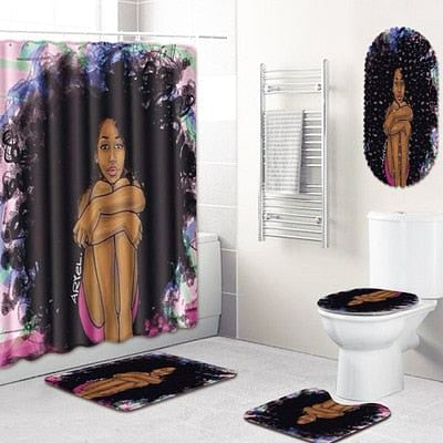 Carpet Bathroom Foot Pad African Woman Bath Mat and Shower Curtain Set PVC Toilet Toilet Seat Covers Home Decor 5Pcs/Set,  By We On 1's, The Jazzi Spot!
