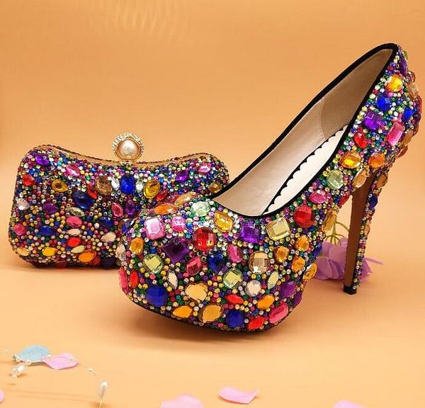 Multicolored Womens wedding shoes with matching bags