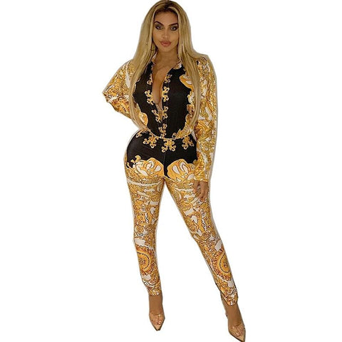 Sexy Two Piece Sets, Runs Small, True to Pic Tracksuit,  Women Vintage Print Long Sleeve Shirt Tops and Pencil Pants,  Clubwear,  2 Pcs Outfits,  Sweat Suits, To Cute & Different Here @ The Jazzi Spot Boutique!