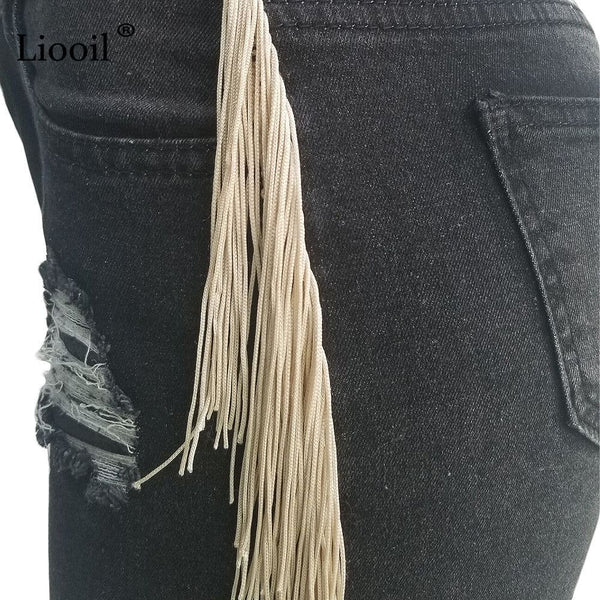 Sexy Skinny Denim Jeans, Womens, With Tassel ,Holes, High Waist, Pencil Pants, Plus Size, Bottoms Wash Distressed Jean, Trousers.  By We On 1's, The Jazzi Spot!