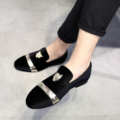 Luxury Golden Metal Decoration Shoes, Elegant Moccasins Men Casual Loafer, Plus Size available, Party, Club, Dress Shoes .