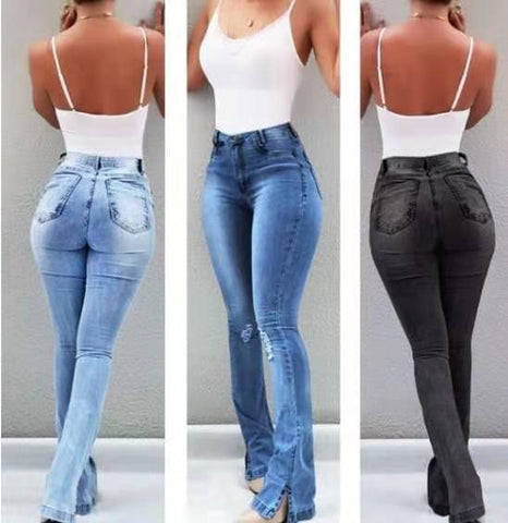 High Waist, Female Boyfriend Ripped Jeans For Women,  Plus Size Pants, Bell Bottom,  Denim Flare, Skinny Jeans Woman fit. Hot Hugh? Hugs all the right places.  By We On 1''s, The Jazzi Spot!