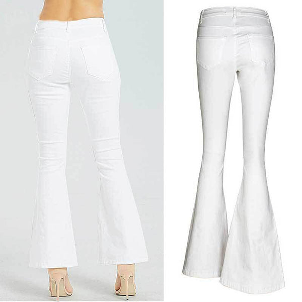 White Embroidery,  Embroidered Flare Jeans,  Women Elasticity Bell-Bottoms, Stretching Women Jeans &  Girls sizes.  By We On 1's, The Jazzi Spot!