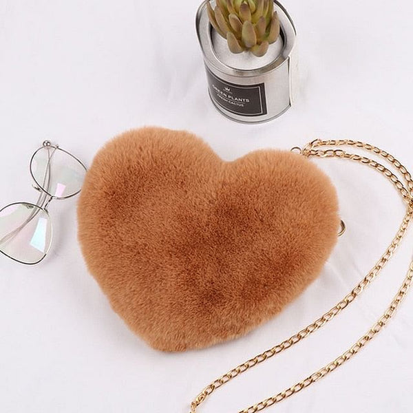 Heart-Shaped Crossbody Bags, For Women, Solid Color, Winter Faux Fur Shoulder Bags, Messenger Bag, Small Chain Ladies Handbags, By The Jazzi Spot!