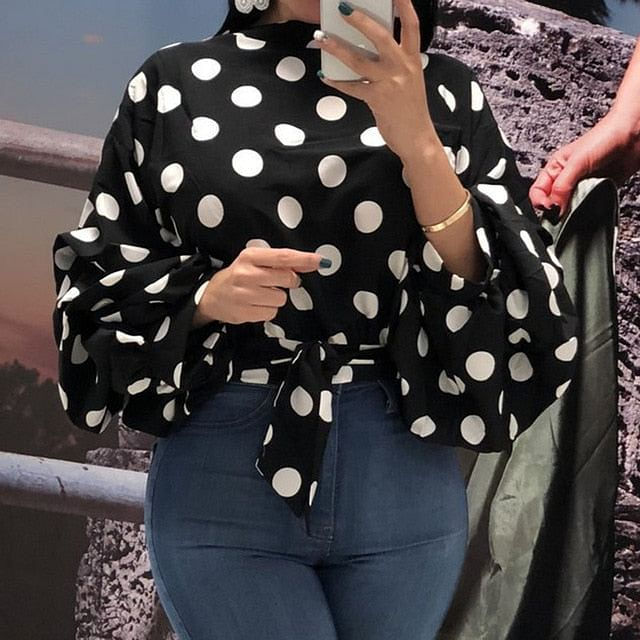 Summer Office,  Lady Sweet Plus Size, Red Elegant Blouses,  Women 2020 Casual Loose Lantern Sleeve Polka, Female Top Shirt  Here @ The Jazzi Spot Boutique!