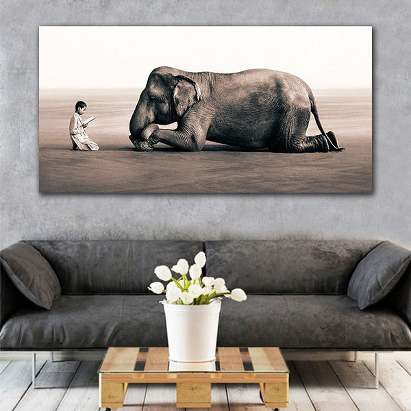 Black and White Picture,  Canvas Painting,  Elephant and Boy Wall Art Prints,  Traditional Posters & Paintings,   No Frame, Here @ The Jazzi Spot Boutique!