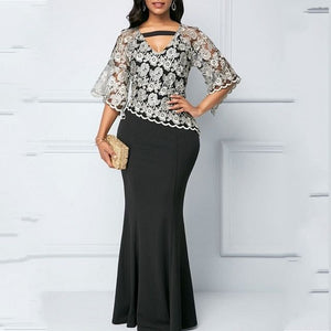 Spring / Fall /  African Maxi Dresses,  For Women 2020,  Black Fashion Robe Long Dress,  Lace Dashiki, Party African Clothes, Here @ The Jazzi Spot Boutique!