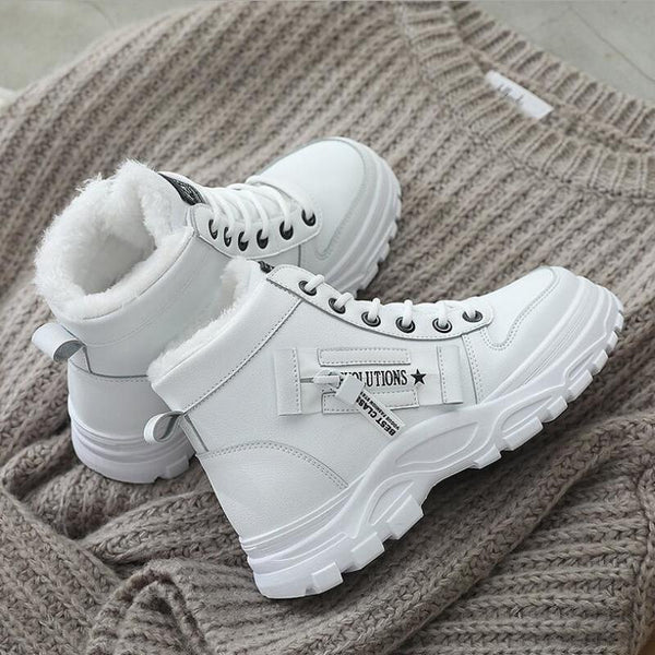 Women Winter Snow Boots With The Fur,  2020 New Fashion Style,  High-top Shoes,  Casual Woman Waterproof,  Warm, Female High Quality,  White or  Black @ The Jazzi Spot Boutique!
