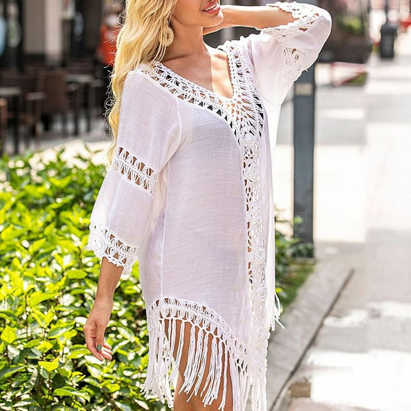 Sexy Tassel Cover Ups, Tunic Swimsuit 2020 Beach Dress, Tropical Hollow Out Beachwear, Black Backless, Summer Swimwear! Here @ The Jazzi Spot Boutique!