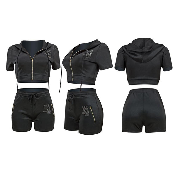 Women Casual Two Piece Set, Summer Zipper Shorts, Sleeve Hooded Sweatshirt Crop Top, Shorts, Female Tracksuit Here @ The Jazzi Spot Boutique!