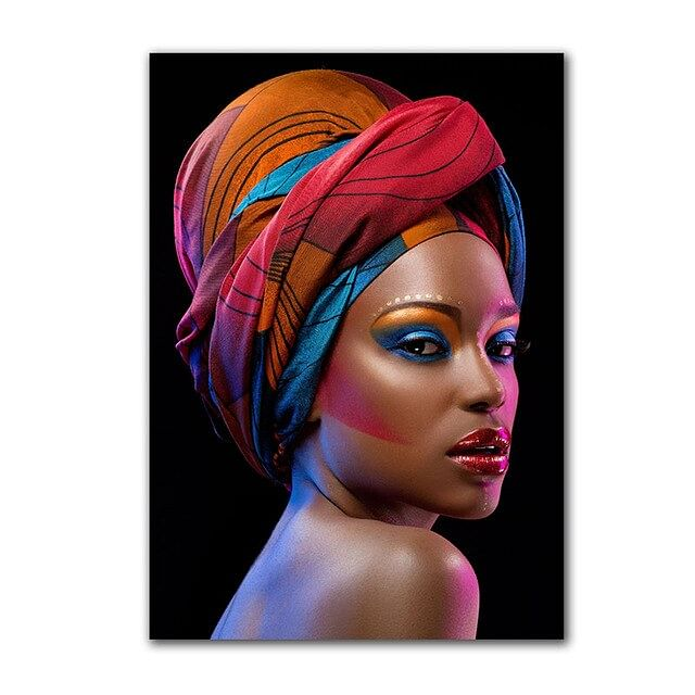 Modern African Women Prints,  Posters ,  HD Canvas Painting,  Pictures Of A  Fashion Girl,  Decoration Wall Art,  No Frame, Comes Rolled in A Tub. You Buy Your Own Frame.