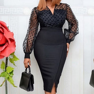 Women Sheer Long Sleeves Polka Dot Bodycon Dress, For The Office, After Work Affair,  Ladies Slim Form Fitting Dress For All Occassion's, @ The Jazzi Spot Boutique!
