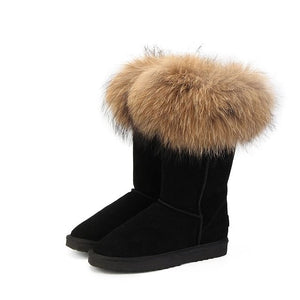 Natural,  Real Fox Fur,  Women's Winter Snow Boots,  Warm,  Long Boots,  Genuine Cow Leather,  High Winter Boots,  Women Boots @ The Jazzi Spot Boutique!