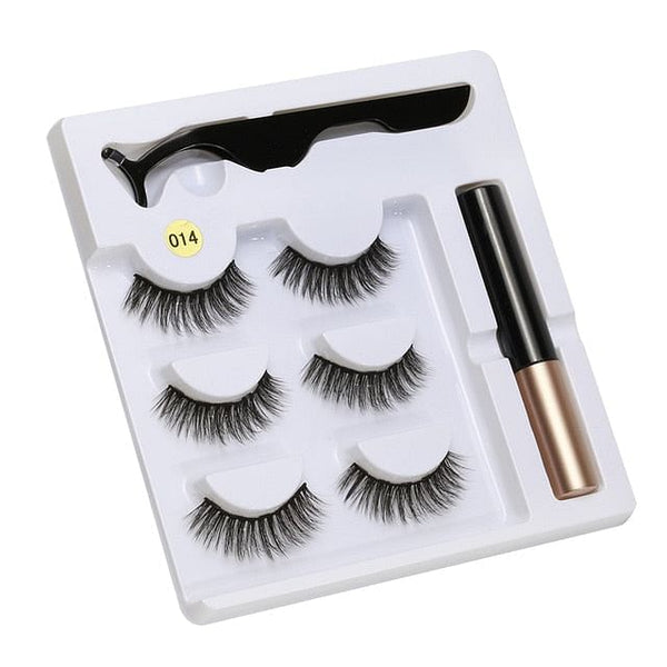 5 Magnet Eyelashes,  Magnetic Liquid Eyeliner & Magnetic False Eyelashes & Tweezer Set,  Waterproof,  Long Lasting Eyelashes,  Extension Tool Included @ The Jazzi Spot Boutique!