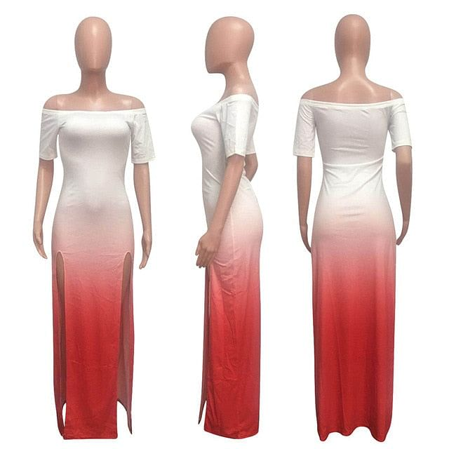 High Split,  Maxi Dress,  Summer Women Color Print,  Off The Shoulder,  Slash Neck,  Dress is Elegant, light,  Beach,  Party , Long Dress Here @ The Jazzi Spot Boutique!