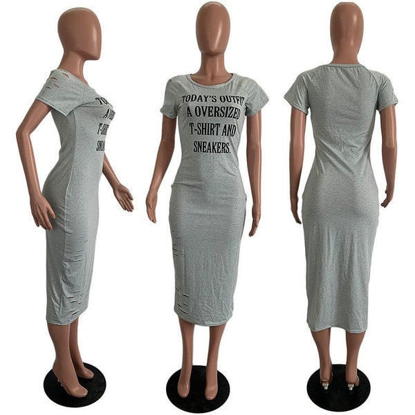 Letters,  Print Casual Summer Dress, Women O Neck, Short Sleeve, Body Fitting Dress,  Streetwear, Midi T-shirt Dress,  Loungewear, Here @ The Jazzi Spot Boutique!