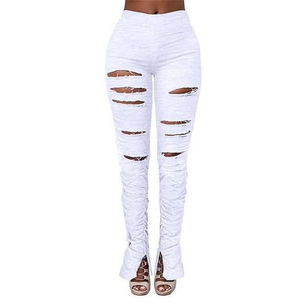 Distressed Ripped High Waist Stacked Pants, Sweatpants Material, Women Joggers, Holes, Elastic, Split Bell Bottom Trousers, Streetwear, Popping @ The Jazzi Spot Boutique!