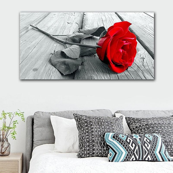 Red Rose Wall Art,  HD Flower Canvas Painting,  Black Posters for BedRoom, Home Or Office  Decor,  Nordic Wall Painting @ The Jazzi Spot Boutique!