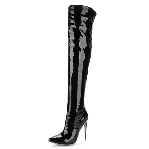 Oversized Patent Leather, Rubber Sole, Red, White or Black! Cute,  Long Tube,  Super High Heel,  Over Knee Boots,  Pointed Toe, Thin Heel, Comfortable,  Warm,  Women's Boot For The Women With A Slightly Wider Calf Or Thigh, @ The Jazzi Spot Boutique!