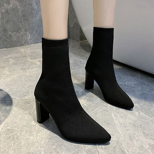 Simple fashion stretch Sock Boots, Women's High Heels Shoes,  Knit Sock Boots, Skinny Women, Pointed Toe, Autumn and Winter Bare Boots @ The Jazzi Spot Boutique!