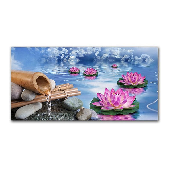 GoldLife, Landscape, Canvas Painting, Bamboo, Lotus, Stone, Wall Art In HD, Chinese Style Print Posters for BedRoom,  Dinning Room, Living Room or Office, Here @ The Jazzi Spot Boutique!