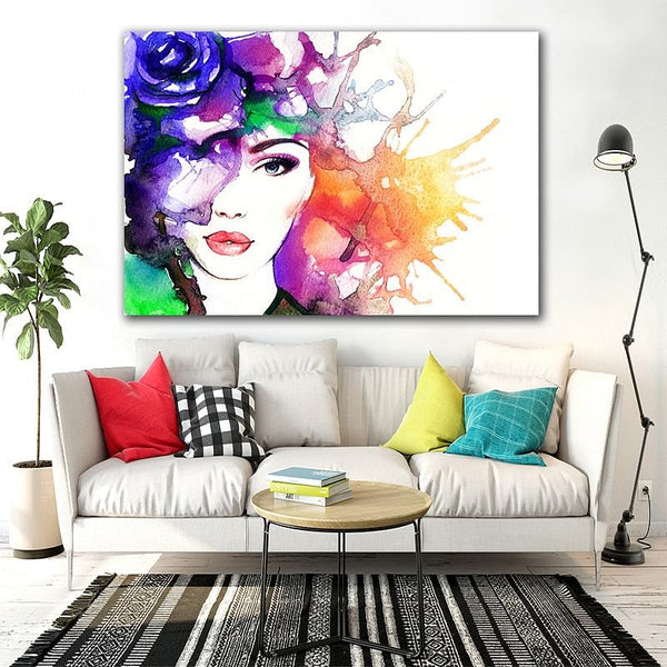 GoldLife Watercolor Fashion Girl Canvas Painting,  Abstract Figure,  Wall Prints,  Nordic Poster,  Art for Living Room,  BedRoom, Office  Artwork Here @ The Jazzi Spot Boutique!