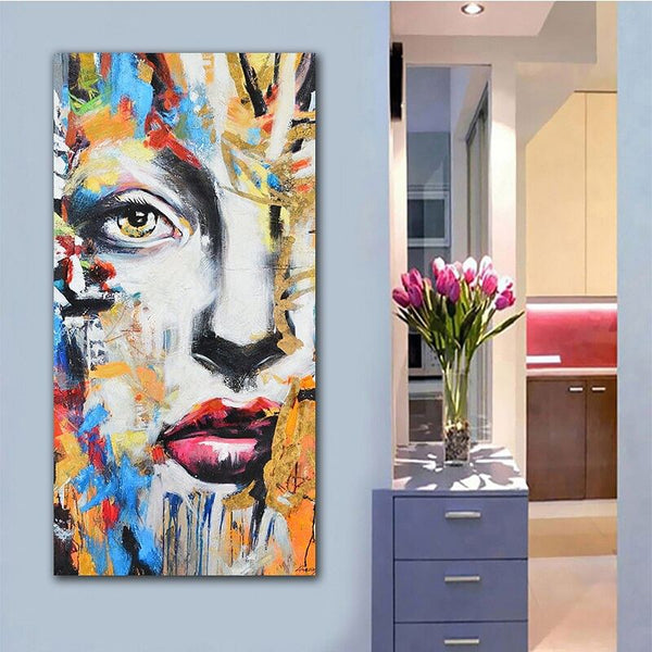 Wall Art,  Abstract Face Print Poster,  Oil Painting for Living Room Or Any Other Room! Canvas Street Art,  Portrait Wall Pictures Home Decor @ The Jazzi Spot Boutique!
