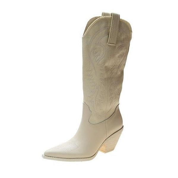 Women Cowboy Boots,  Pointed Toe,  Women's Pure  Leather Knee-High Boots,  Chunky Wedges @ The Jazzi Spot Boutique!