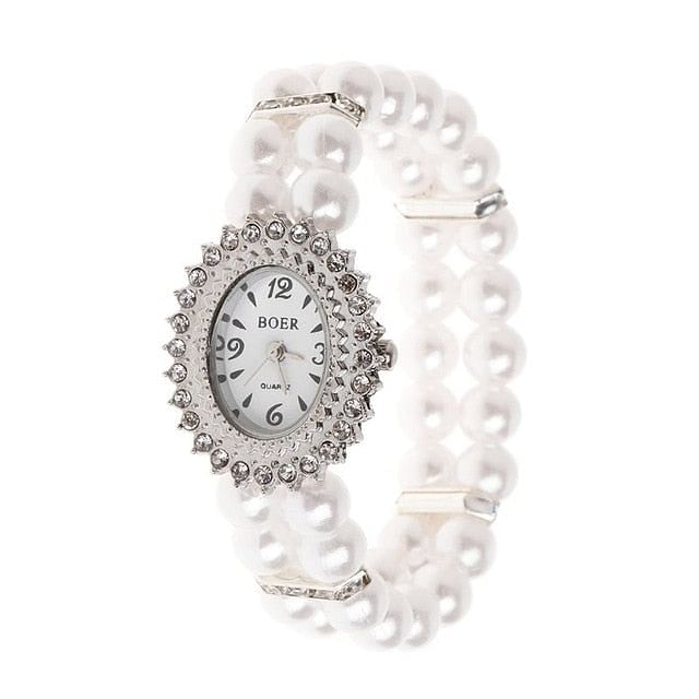 Women Watch, Simulated Pearl Rhinestone, Luxury Fashion, Elegant Wrist Band Bracelet Jewelry, Ladies Elastic Universal Charms, @ The Jazzi Spot Boutique!