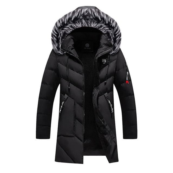 Winter Parka Men's Solid Jacket 2020, New Arrival Thick Warm Coat, Long Hooded Jacket, Fur Collar, Windproof, Padded Coat, For Men @ The Jazzi Spot Boutique!