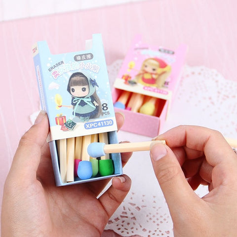 8 PCs Cute Kawaii Matches Eraser