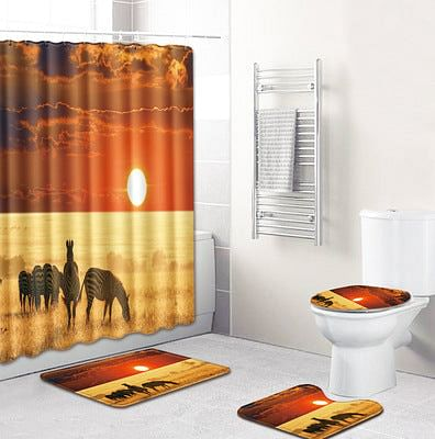 African Style Landscape Polyester Shower Curtain Set Non Slip Rugs Carpet for Bathroom Toilet Flannel Bath Mat Set, 4Pcs, By The Jazzi Spot!