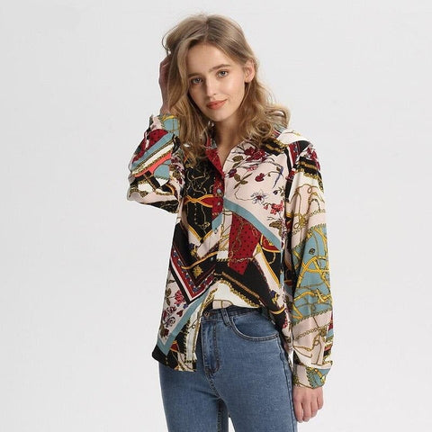 Women Vintage Geometric Pattern Shirt