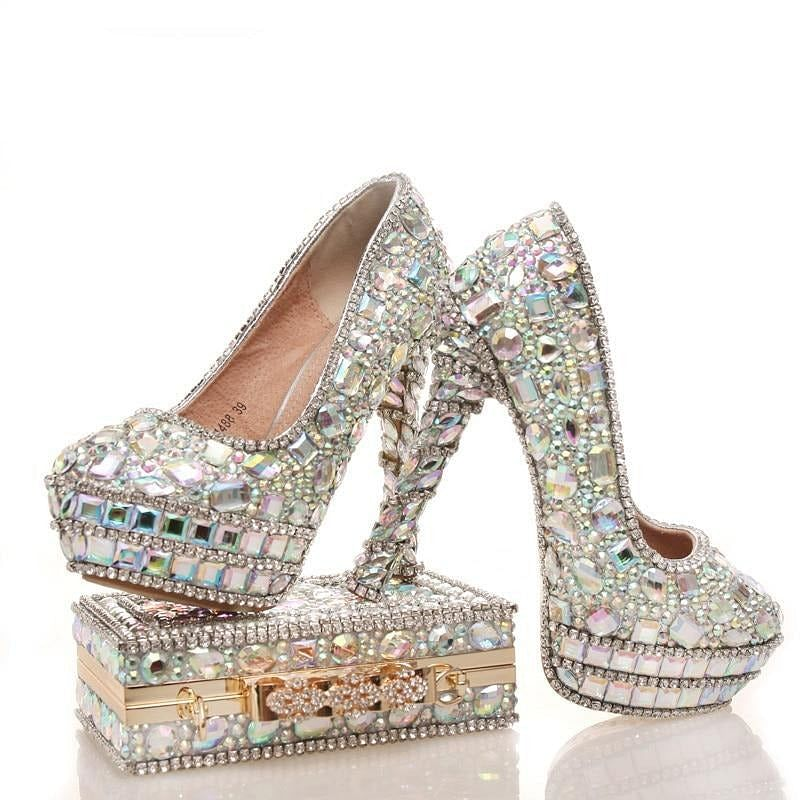 Womens wedding shoes with matching Shining bags