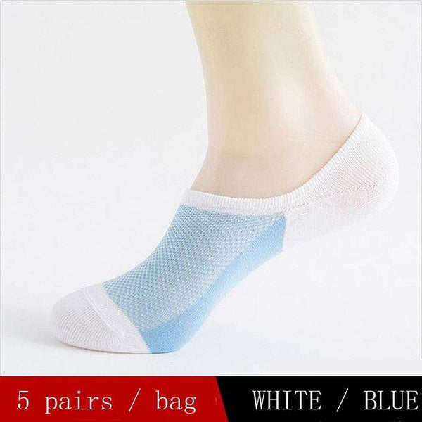 5 Pairs Men's Summer Cotton Boat Socks