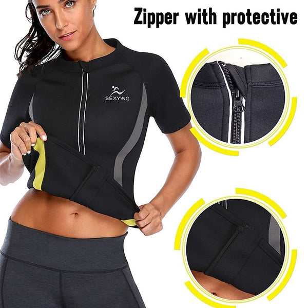 SEXY, Super Hot Body Shaper, Running T-shirt, Women Fitness, Weight Loss, Sweat Sauna Suit, Waist Trainer, Neoprene Slimming Shirt.  These really make you sweat, By We On 1's, The Jazzi Spot!
