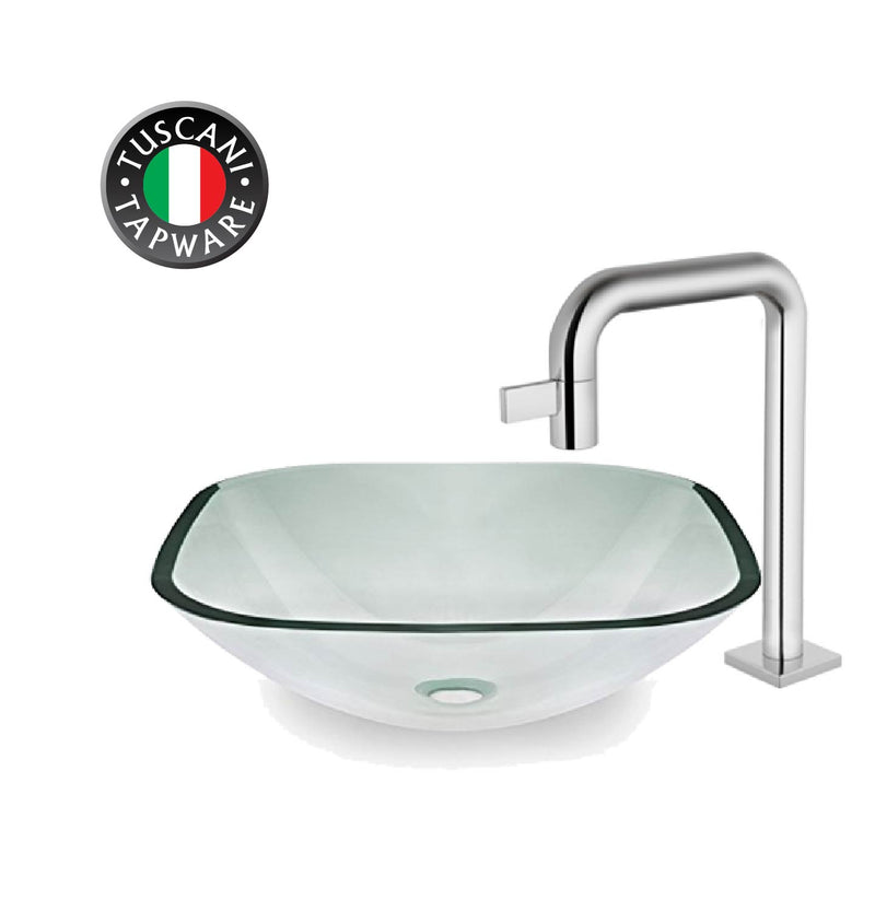 H132C- Clear Square Deck Mounted Glass Basin